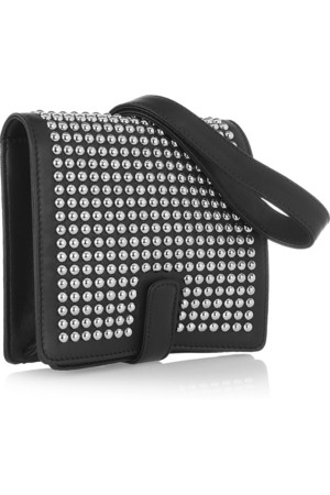 Christian Louboutin Edie Studded Leather Wristlet Clutch