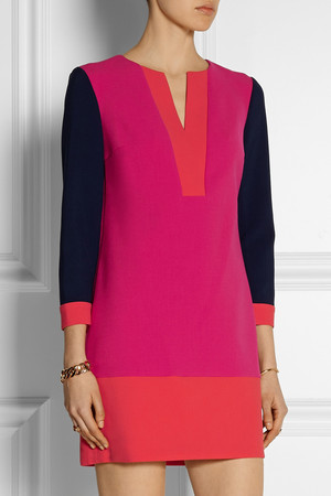 Diane Von Furstenberg Millie Color Block Stretch Crepe Mini Dress Intl Shipping