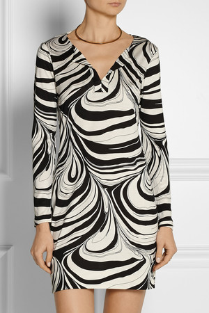 Diane Von Furstenberg Reina Printed Silk Jersey Mini Dress Intl Shipping
