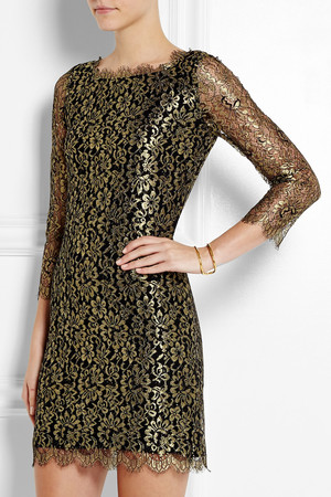 Diane Von Furstenberg Zarita Metallic Lace Dress Intl Shipping