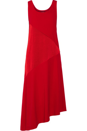 Dkny Asymmetric Paneled Satin And Crepe Midi Dress Intl Shipping