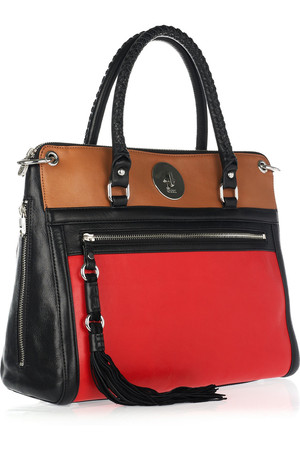 Dkny Color Block Leather Tote Intl Shipping