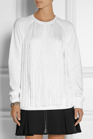 Dkny Fringed French Terry Sweatshirt Intl Shipping
