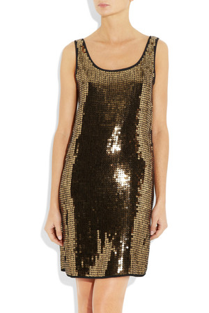 Dkny Sequined Stretch Georgette Dress Intl Shipping