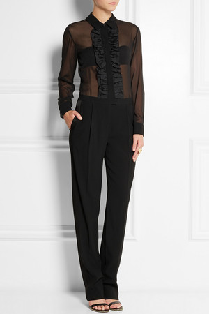 Dkny Stretch Silk Chiffon And Crepe Jumpsuit Intl Shipping