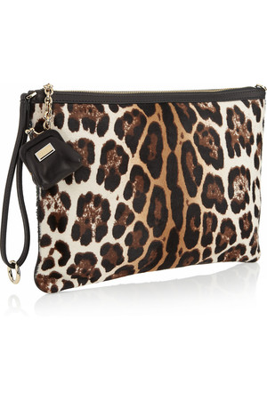 Dolce Gabbana Leopard Print Calf Hair And Sequined Clutch