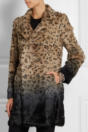 Each X Other Leopard Print Ombr Goat Hair Coat Intl Shipping