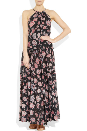 Etoile Isabel Marant Jill Floral Print Cotton Blend Maxi Dress Intl Shipping