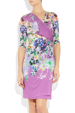 Etro Floral Print Wrap Effect Jersey Dress Intl Shipping