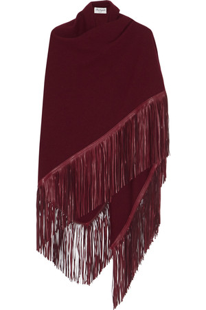 Fringed Leather And Cashmere Wrap Intl Shipping