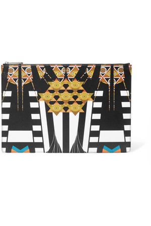 Givenchy Large Pouch In Printed Textured Leather Black Intl Shipping