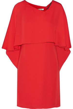 Halston Heritage Cape Back Georgette Mini Dress Intl Shipping