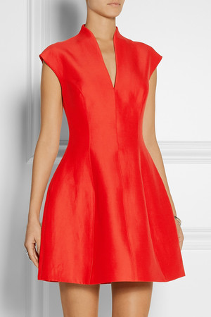 Halston Heritage Paneled Faille Mini Dress Intl Shipping