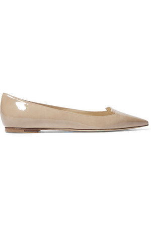Jimmy Choo Attila Patent Leather Point Toe Flats Beige Intl Shipping
