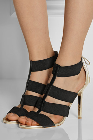 Jimmy Choo Dario Elastic And Mirrored Leather Sandals Intl Shipping
