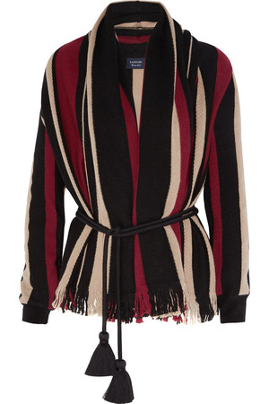 Lanvin Fringed Sriped Wool Cardigan Intl Shipping