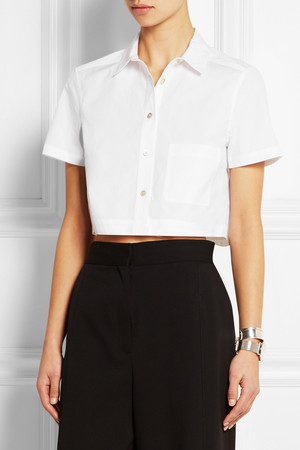 Marc By Marc Jacobs Cropped Stretch Cotton Poplin Shirt Intl Shipping