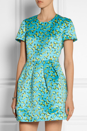 Markus Lupfer Bananas Frankie Printed Satin Mini Dress Intl Shipping