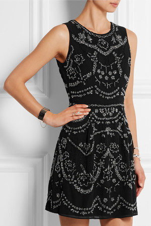 Needle Thread Embellished Crepe Mini Dress Intl Shipping