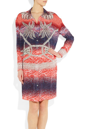 Peter Pilotto Rope Print Silk Shirt Dress Intl Shipping
