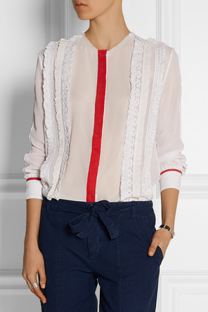 Preen Line Virginia Lace And Crepe Paneled Georgette Shirt Intl Shipping
