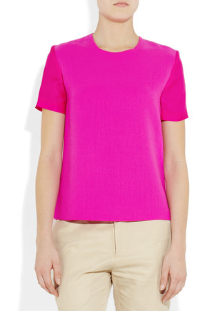 Roksanda Ilincic Otto Wool Crepe And Silk Organza Top Intl Shipping