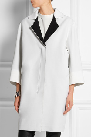 Roland Mouret Paddington Two Tone Wool Crepe Coat Intl Shipping