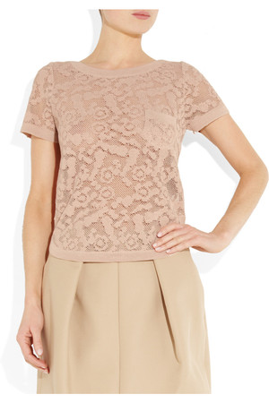 See By Chloe Floral Crochet Flax Blend Top Intl Shipping