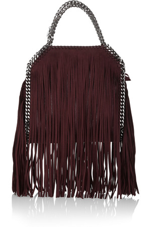 Stella Mccartney The Falabella Mini Fringed Faux Brushed Leather Shoulder Bag Intl Shipping