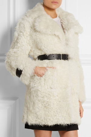 Topshop Unique Morrell Leather Trimmed Shearling Coat Intl Shipping