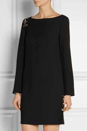 Versus Cutout Embellished Crepe Mini Dress Intl Shipping