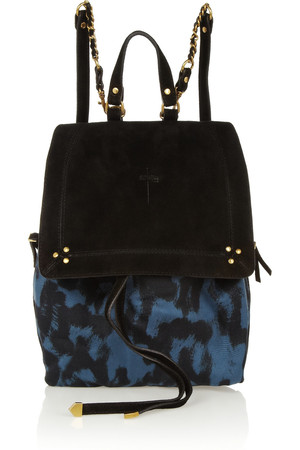 Jerome Dreyfuss Florent Suede Trimmed Leopard Print Canvas Backpack