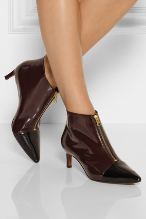 Marni Two Tone Glossed Leather Ankle Boots