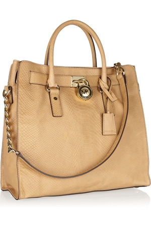 Michael Michael Kors Hamilton Large Python Effect Leather Tote
