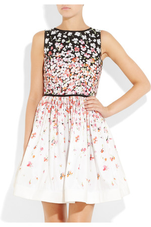Red Valentino Floral Print Satin Twill Dress