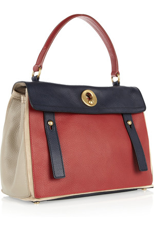 Yves Saint Laurent Muse Two Small Color Block Leather Tote