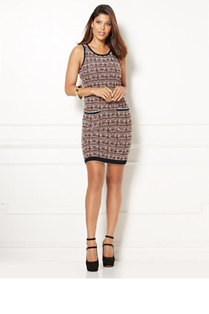 e2603aa5b05 New York And Company Eva Mendes Collection Ella Boucl Sweater Dress In  Classic Sangria