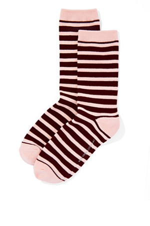 New York And Company Ribbed Knit Short Crewneck Sock Stripe In True Burgundy
