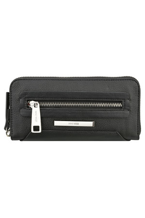Nine West Geneva Zip Around Leather Wallet Black