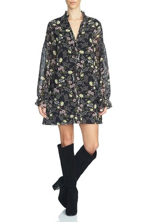 1state Floral Print Tie Neck Shift Dress