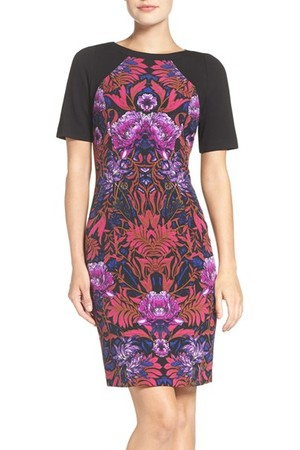 Adrianna Papell Print Ponte Sheath Dress