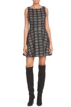 Alice Olivia Monah Plaid Sleeveless A Line Dress