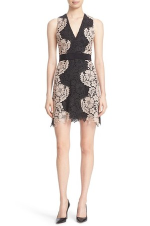 Alice Olivia Patrice V Neck Lace A Line Dress