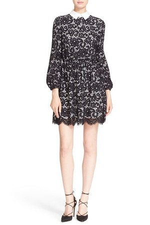 Alice Olivia Terisa Collared Blouson Sleeve Lace Dress