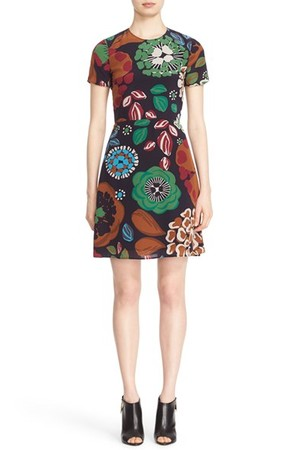 Burberry Sam Floral Print Mulberry Silk Dress