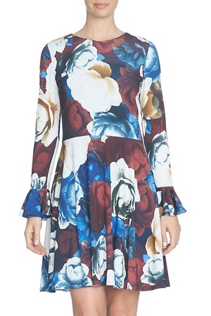Cece Rose Print Bell Sleeve Dress