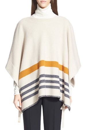 Chloe Stripe Side Tie Felted Wool Cashmere Poncho
