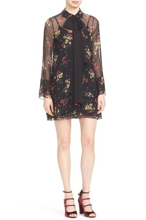 Cinq A Sept Floral Print Silk Dress