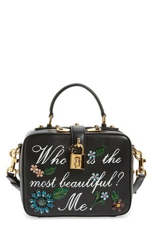 Dolce gabanna Small Most Beautiful Crystal Flower Embellished Leather Handbag