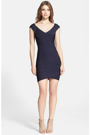 Herve Leger Cap Sleeve Bandage Dress